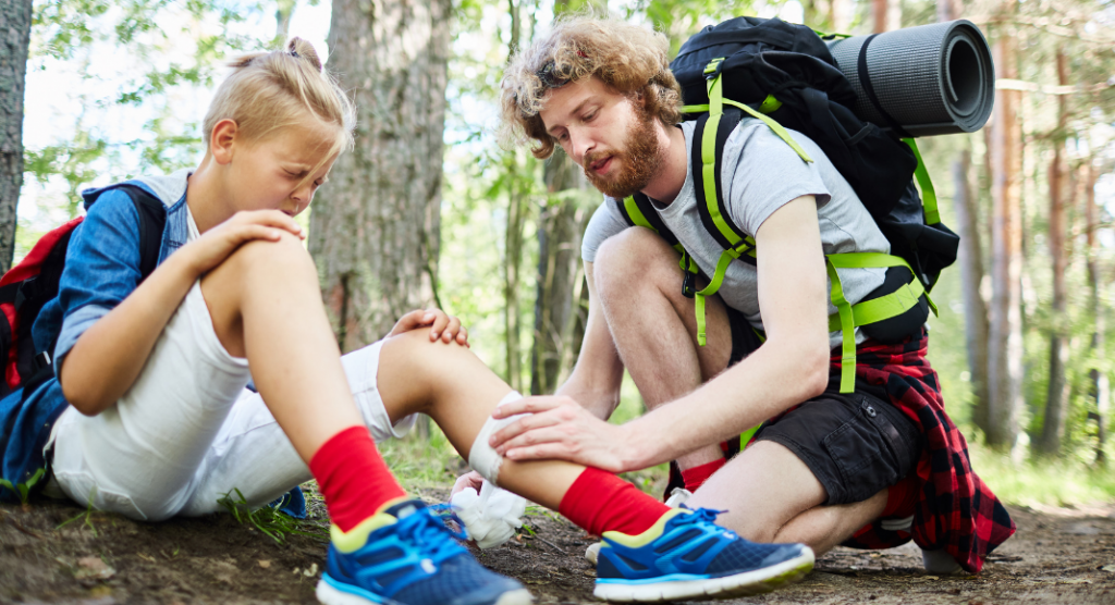 bandaging and injury sustained during family hikes
