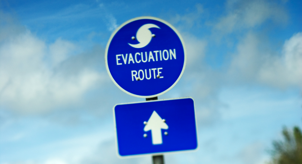 sign for an evacuation route